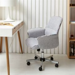 Comfortable Swivel Chair Old Chairs Mid Back Desk Task Home Office Padded Seat Gray