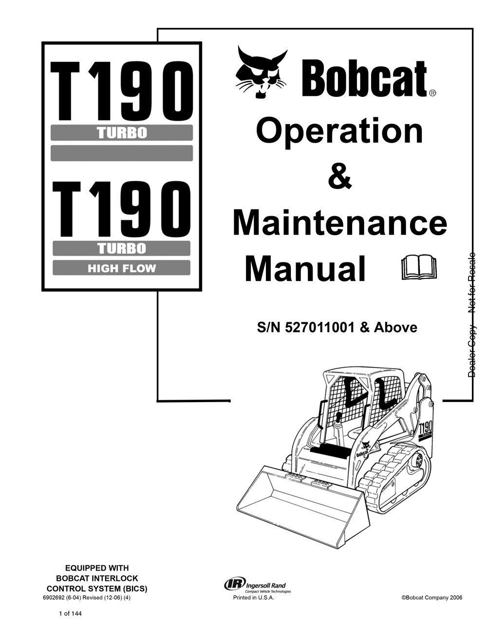New Bobcat T190 Turbo & Highflow Operation & Maintenance