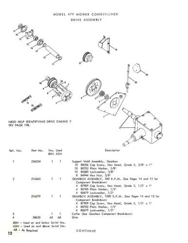 New Holland 479 Haybine Mower Conditioner Parts Catalog