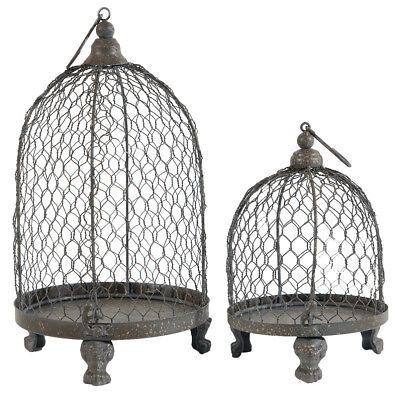 2-Pc Home Light Decor Hang Wire Mesh Bird Cage Shape Metal