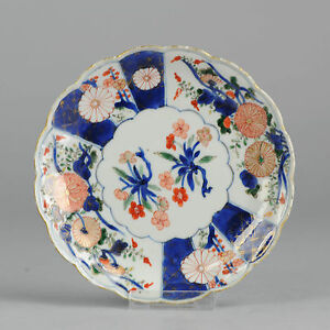 18C Japanese Porcelain Plate Edo Period Peony Flowers Trees Gold Green