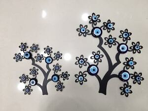 Evil Eye Flowers& Tree Wall Wrought Iron Mural Home Decor Lucky