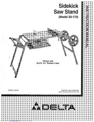 Delta 50-170 Sidekick Saw Stand Owners Instruction Manual