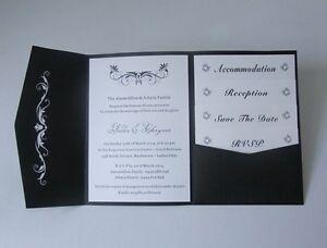 Details About Laser Cut Black Pocketfold Wedding Invitations Diy Pocket Fold Party Invites