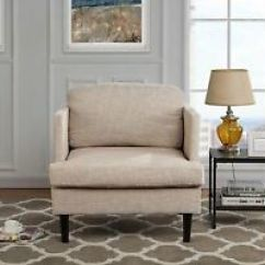 Mid Century Modern Living Room Armchair Red Accent Wall In Details About Linen High Density Chair Beige Image Is Loading