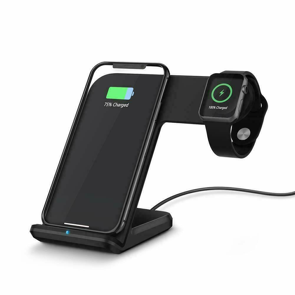 2in1 Qi Wireless Charging Dock Stand For iWatch iPhone 8/XR/X/XS Max Apple Watch | eBay