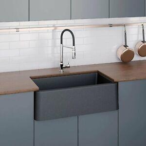 details about latoscana 30 black metallic farmhouse single bowl kitchen farm sink apron front