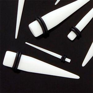 Kunststoff Dehnstab Weiß Dehn Sichel Expander Taper Ohr Piercing 1,6 bis 24mm