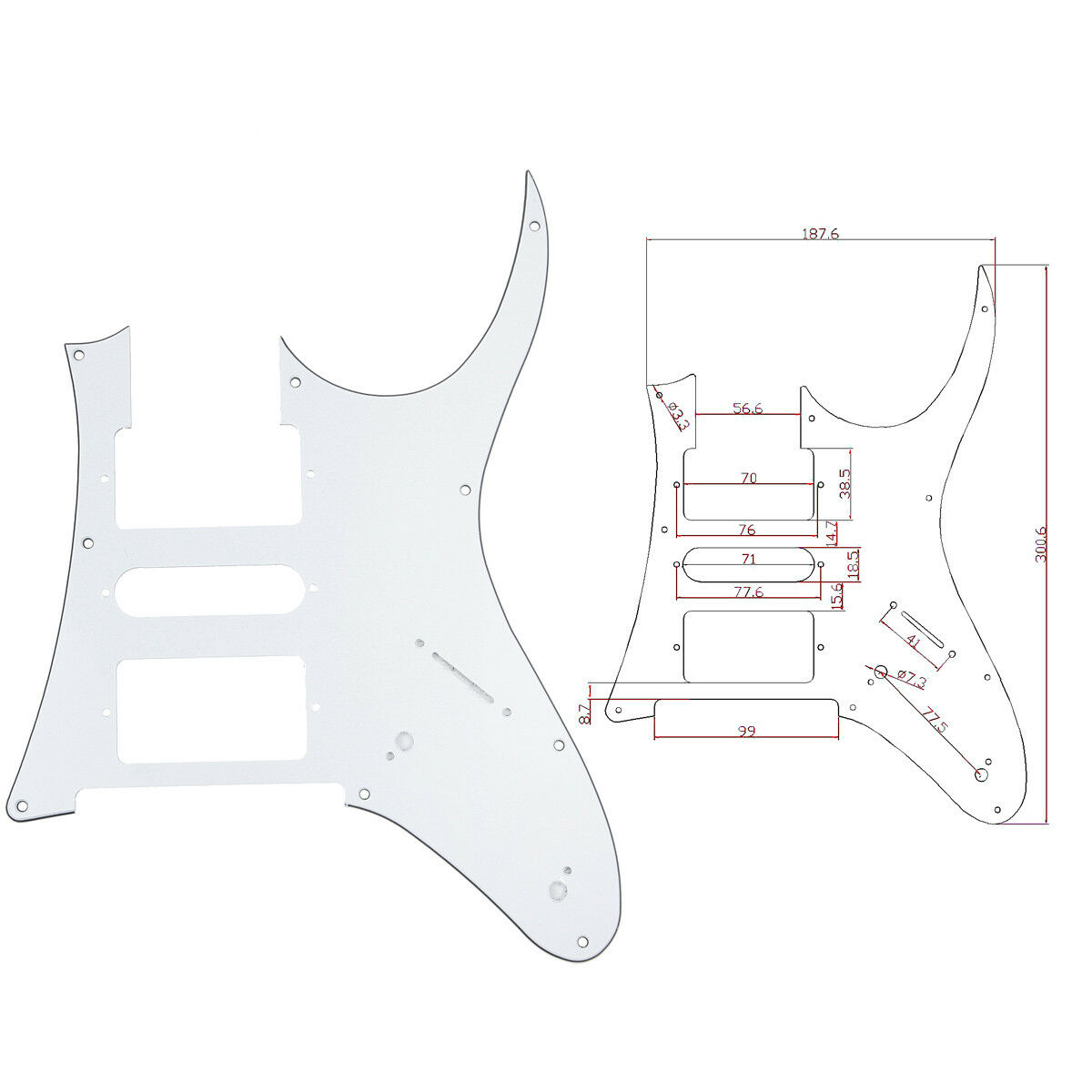 White Electric Guitar Pickguard For Ibanez Rg 750 Replacement Parts