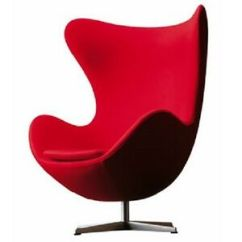 Jacobsen Egg Chair Leather Worn Arne In Red Fabric 3008 Ebay Image Is Loading