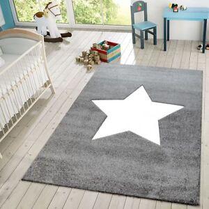 details sur tapis enfant chambre enfant moderne 3d etoile tapis de jeux gris blanc