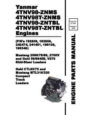 Yanmar 4TNV98-ZNMS 4TNV98T-ZNMS 4TNV98-ZNTBL 4TNV98T-ZNTBL