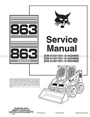 Bobcat model 863 and 853HF 2012 Update Skid Steer Printed