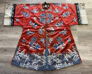 Chinese Red Silk Informal Robe Embroidery Textile