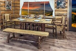 amish kitchen tables high chairs log dining table bench set made finished pine 6 ft image is loading