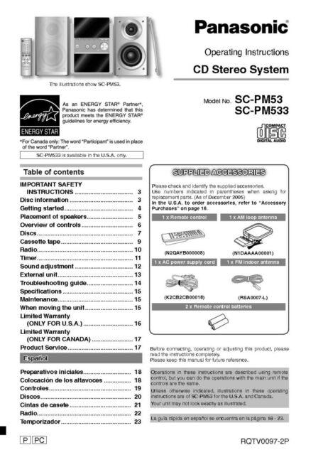 Panasonic SA-PM53 SA-PM533 CD Stereo System Owners