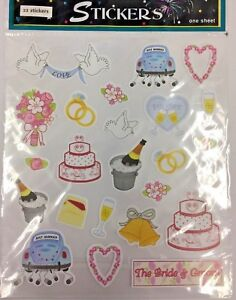 Details About 1 Sheet 23 Stickers Wedding Bride Just Married Cake Forever Invitation
