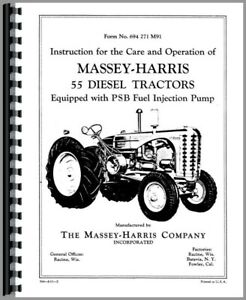 Massey Harris 55 Tractor Service Repair Manual w/ PSB