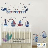 Nautical Sail Boat / Ship /Anchor/ Stars Flag Nursery Baby