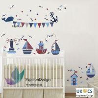 Nautical Sail Boat / Ship /Anchor/ Stars Flag Nursery Baby ...