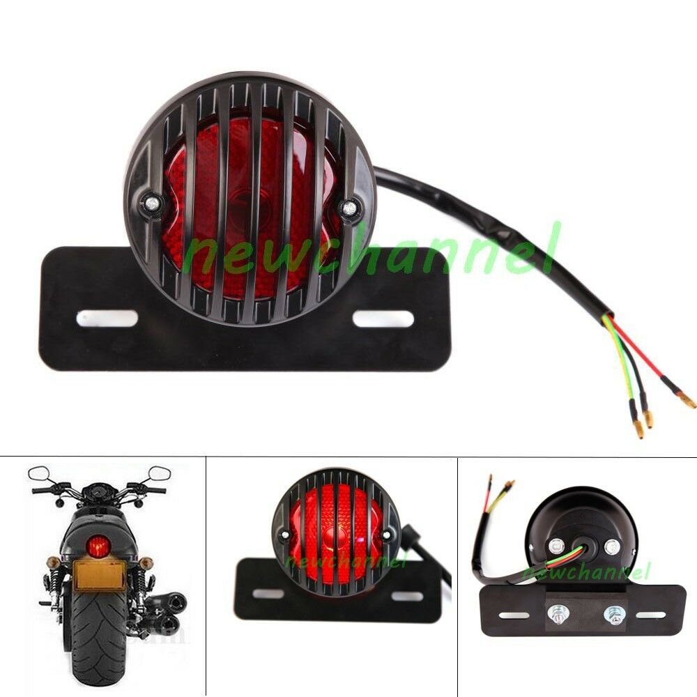 medium resolution of details about round motorcycle led tail light license plate for bobber cafe racer clubman new