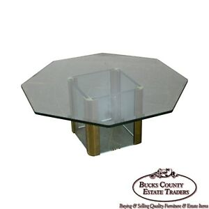 details about leon rosen for pace brass glass octagonal top coffee table