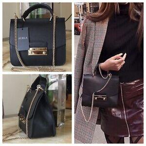 NWT FURLA Julia Mini Top Handle Black Onyx Saffiano Leather Crossbody Bag $378   eBay
