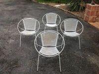 Four Salterini Woodard Mesh Garden Chairs Mid Century ...