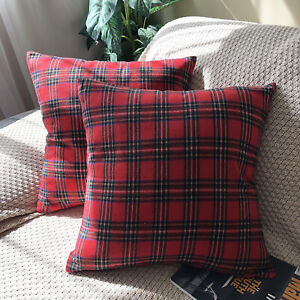 details about pack of 2 poly fuzzy classic buffalo check plaid cushion covers red pillow cases