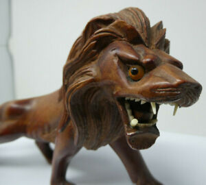 Vintage Chinese Hand Carved Wooden Lion Figure