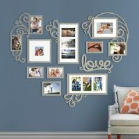 Heart Love Photo Picture Frame Collage Set Silver Wall Art