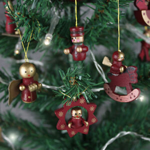 Red Wooden Christmas Tree Decorations