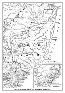 Vintage old Map of Zululand in 1879 during the Zulu War