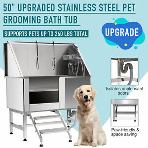 details about 50 dog pet grooming bath tub with faucet walk in ramp animal professional