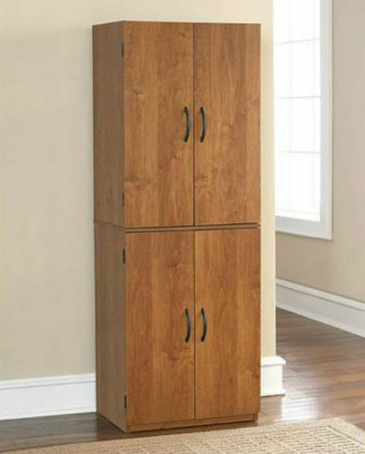 Tall Kitchen Pantry Shelf Food Storage Cabinet Wood Cupboard Bathroom Organizer 2