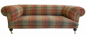 tartan chesterfield sofa grey velvet large new hand built ebay image is loading