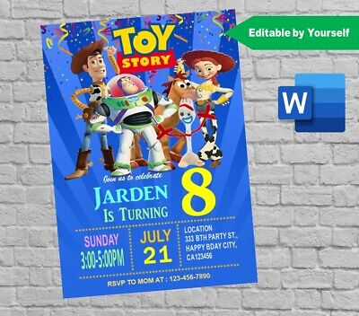 personalized toy story 4 birthday party invitation card digital invite printable ebay