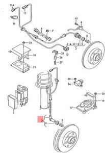 Genuine ABS Wheel Speed Sensor With Wiring Front AUDI VW