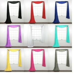 details about fully stitched sheer window scarf valance topper curtain drapes in many colors