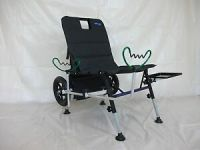 FISHING CHAIR/TROLLEY WITH FREE WHEELS,SIDE TRAY AND ROD