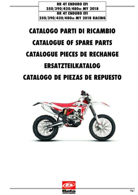 Beta Parts Manual Book Chassis & Engine 2018 RR 4T ENDURO