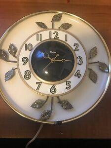 United Clock Corp : united, clock, VIntage, United, Clock, Cream, Goldstone, Leaves, Model, Electric