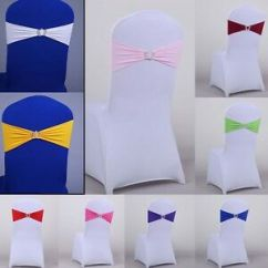 Chair Covers And Bows Ebay Bean Bag Ikea 1 10 Lot Spandex Stretch Wedding Cover Sashes Bow Band Party Image Is Loading