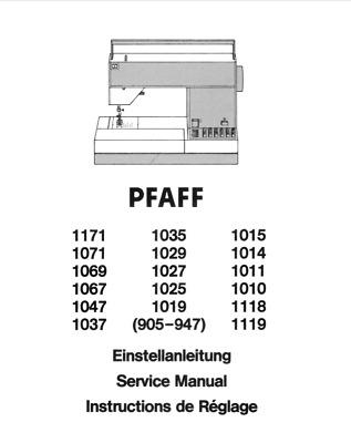 Pfaff 1010 to 1171 Sewing Machine Repair / Service Manual