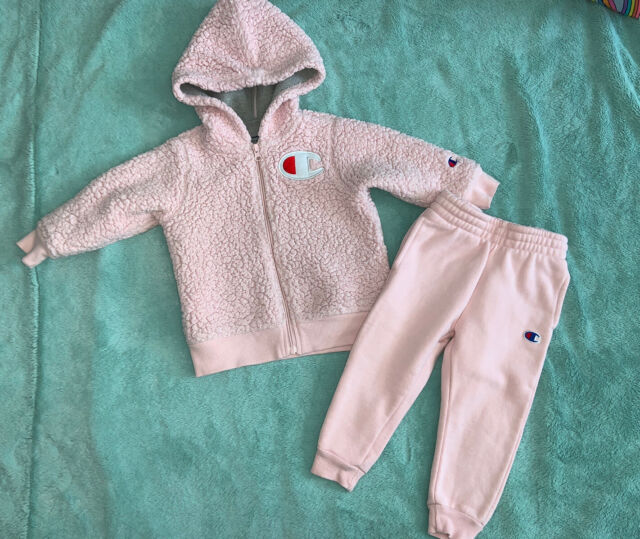 CHAMPION TODDLER GIRLS PINK SHERPA TWO PIECE OUTFIT JUMPSUIT SIZE 2T   eBay
