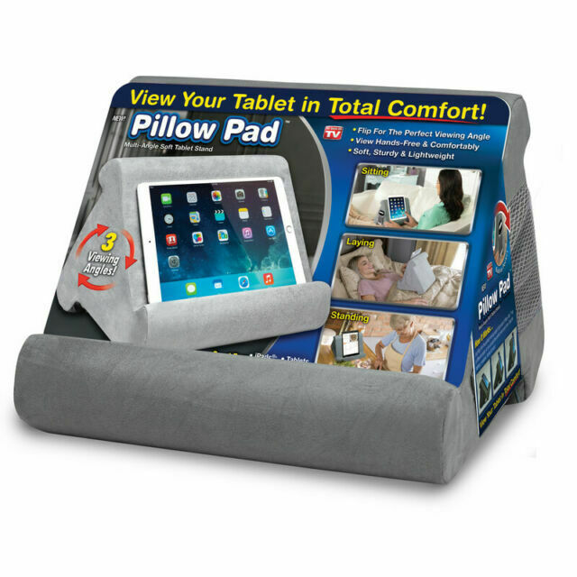 ontel multi angle cushioned pillow stand gray