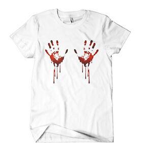 Blood Hands T Shirt Halloween Mens Girls Party Fancy Dress