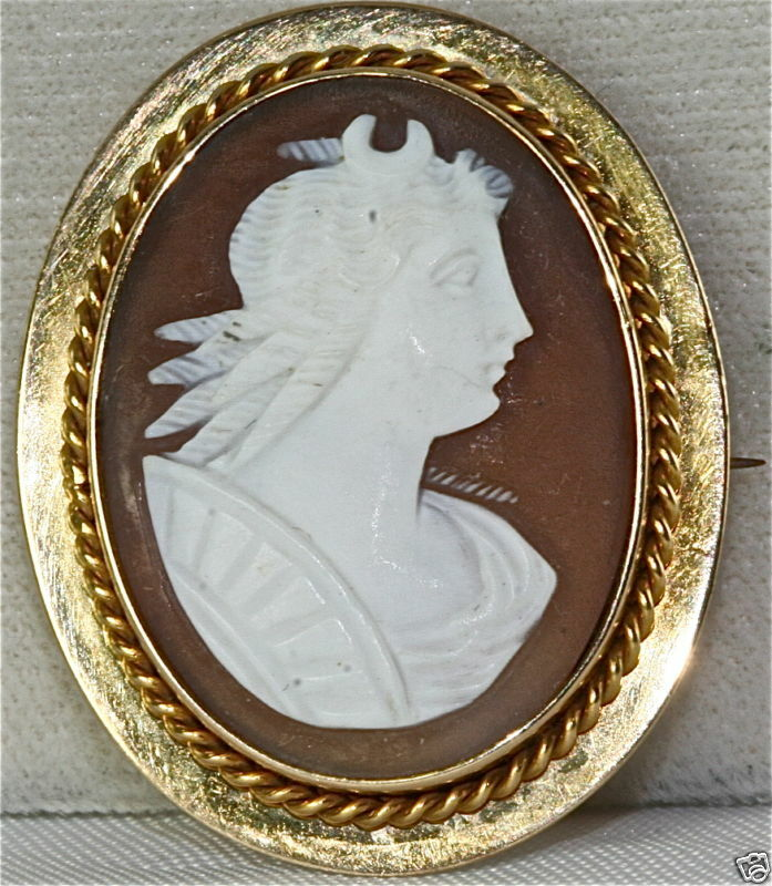 Victorian Antique 14k Gold Huntress Diana Cameo Pin +  Ebay