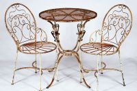 2 Wrought Iron Ice Cream Chairs and Table Set - Metal ...