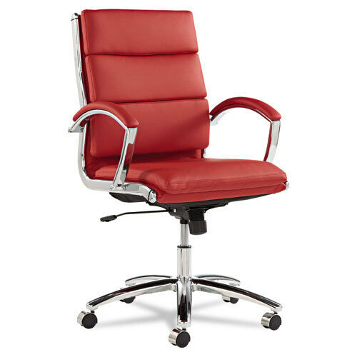 Red Leather Computer Office Desk Chair with Padded Arms  eBay